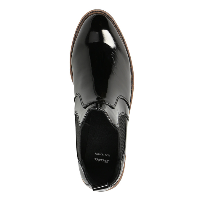 Patent leather Chelsea Boots with an eye-catching sole bata, black , 591-6603 - 26