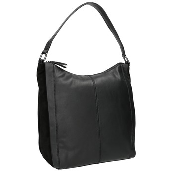 Hobo-style black leather handbag bata, black , 964-6254 - 13