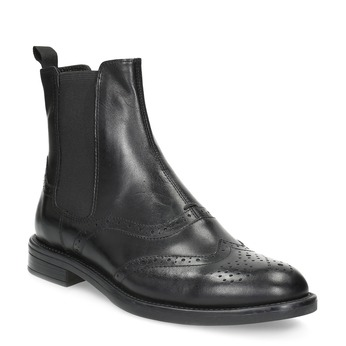 Leather Chelsea Boots with Brogue work vagabond, black , 514-6002 - 13
