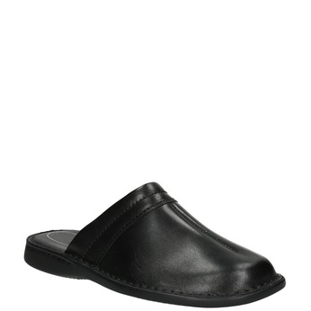 Men's leather slippers comfit, black , 874-6600 - 13