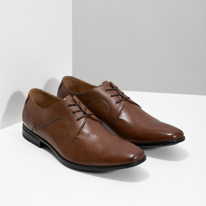 Men's brown leather shoes bata, brown , 826-3758 - 26