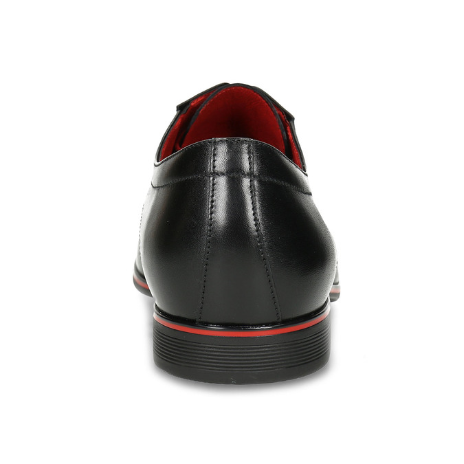 Leather shoes with red details conhpol, black , 824-6873 - 15
