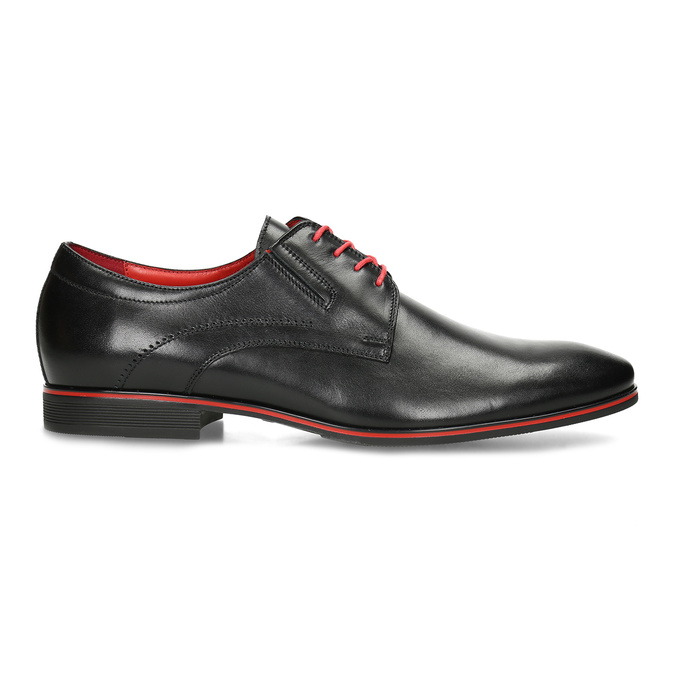 Leather shoes with red details conhpol, black , 824-6873 - 19