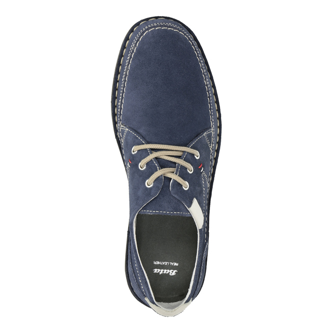 Casual leather shoes bata, blue , 853-9612 - 15