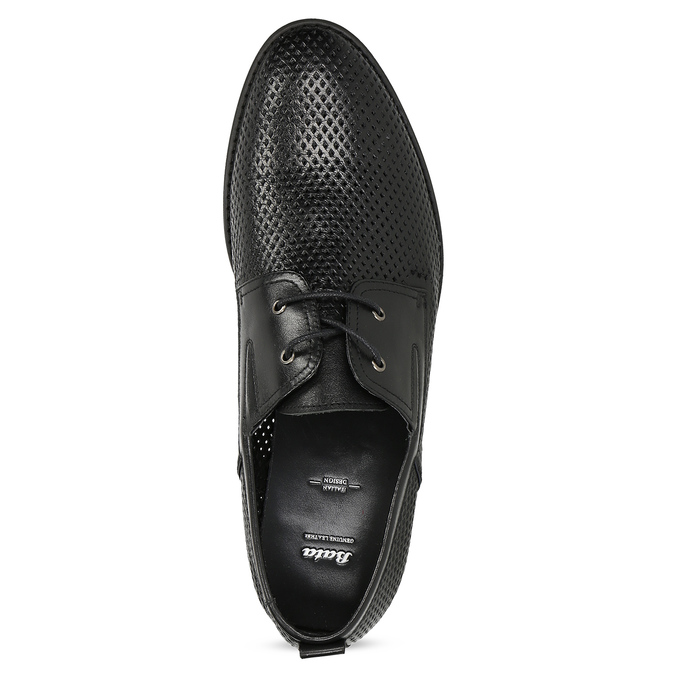 Leather shoes with perforations bata, black , 854-6601 - 17