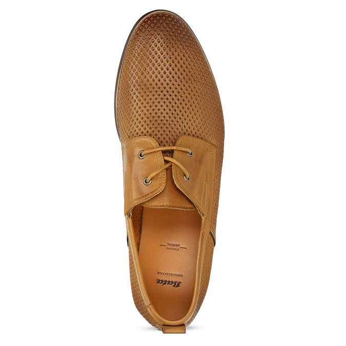 Casual leather shoes with perforations bata, brown , 856-3601 - 17