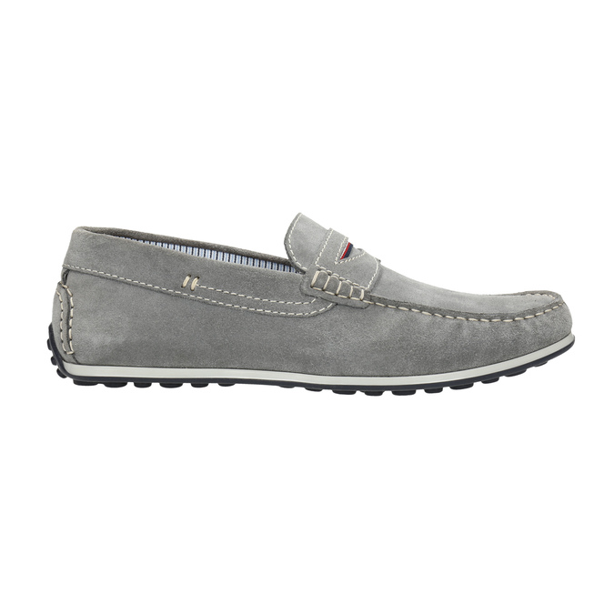 Men's brushed leather moccasins bata, gray , 853-2614 - 15