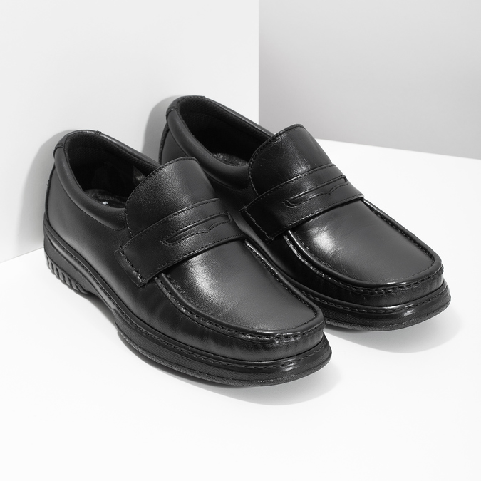 Men's leather moccasins with stitching pinosos, black , 814-6624 - 26