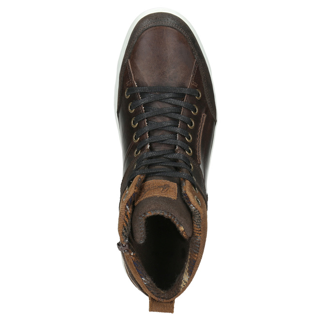 Leather high-top sneakers bata, brown , 846-4640 - 26