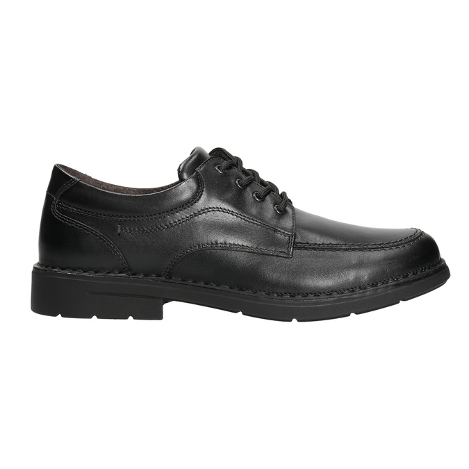 Casual leather shoes with stitching comfit, black , 824-6987 - 15