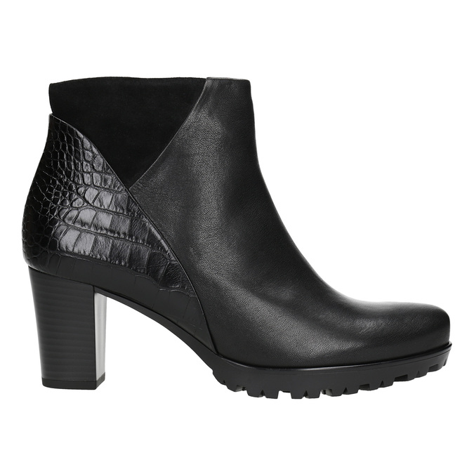 Ladies' Leather High-Heeled High Boots gabor, black , 716-6029 - 26