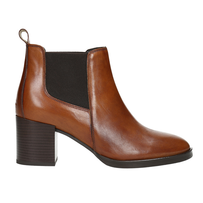 Leather Ankle Boots with Heel bata, brown , 694-4641 - 15