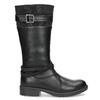 Black Girls' Leather High Boots mini-b, black , 391-6655 - 19