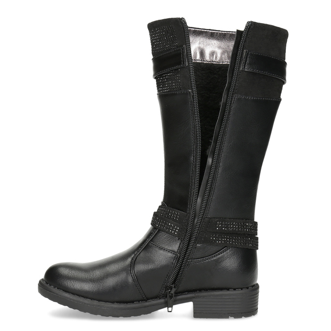 Black Girls' Leather High Boots mini-b, black , 391-6655 - 17