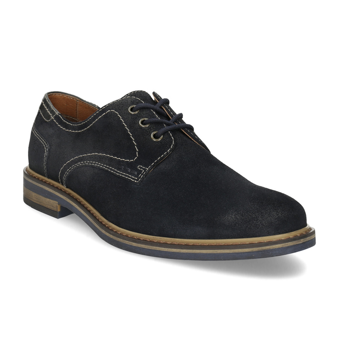 Blue leather shoes with stitching bata, blue , 823-9613 - 13