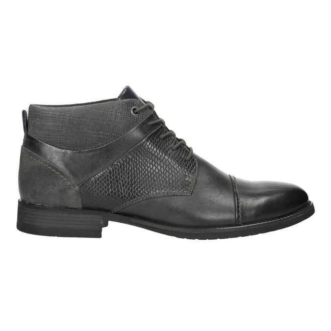 Textured leather ankle boots bata, gray , 826-2616 - 15