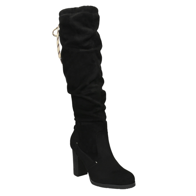 Ladies' black heeled high boots bata, black , 799-6614 - 13
