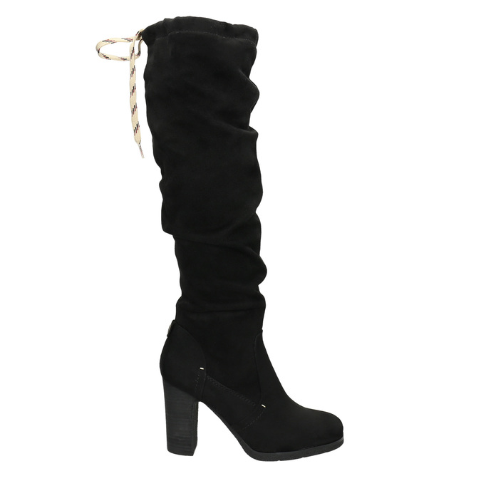 Ladies' black heeled high boots bata, black , 799-6614 - 15