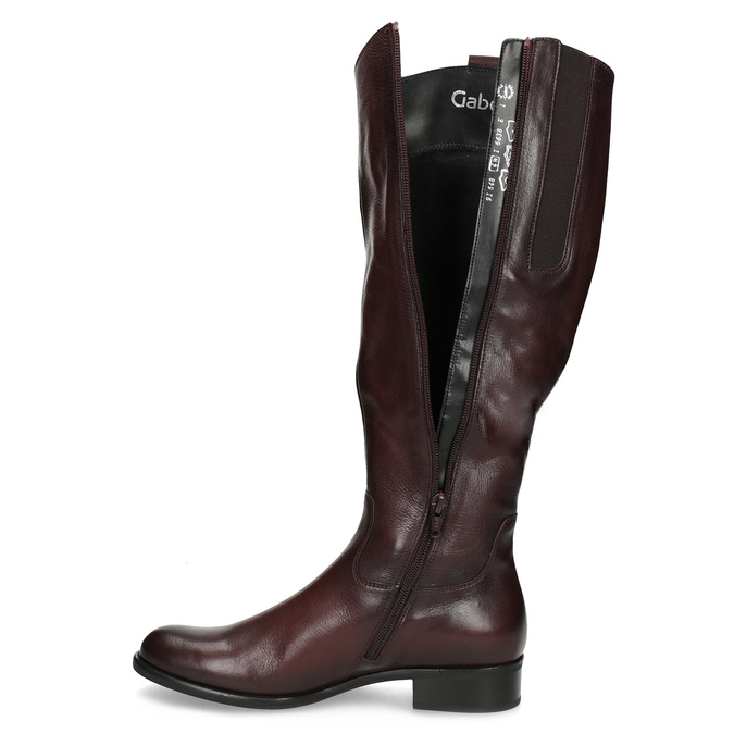 Burgundy High Leather Boots gabor, red , 696-5191 - 17