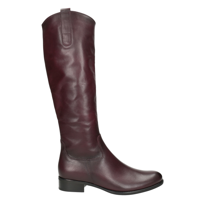 Burgundy High Leather Boots gabor, red , 696-5191 - 26