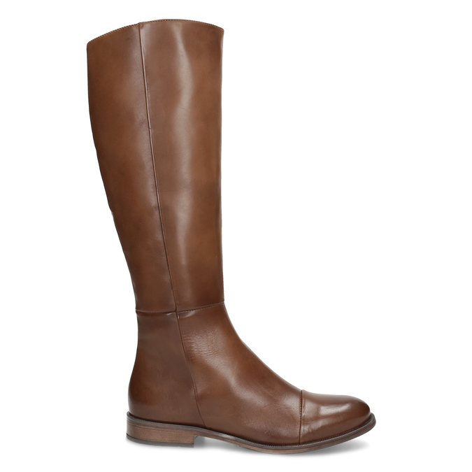 Brown Leather High Boots bata, brown , 594-4637 - 19
