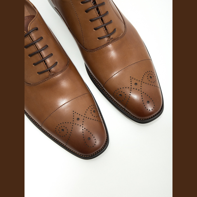 Leather Oxford shoes with decoration bata, brown , 826-3690 - 14