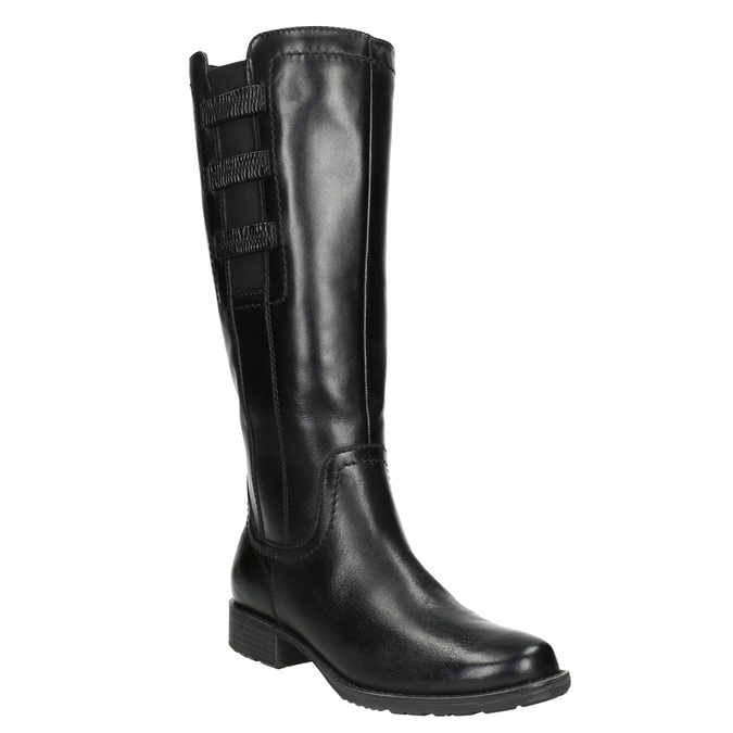 Leather High Boots with Elastic Panel bata, black , 596-6655 - 13