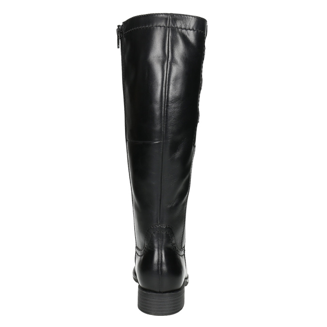 Leather High Boots with Elastic Panel bata, black , 596-6655 - 17
