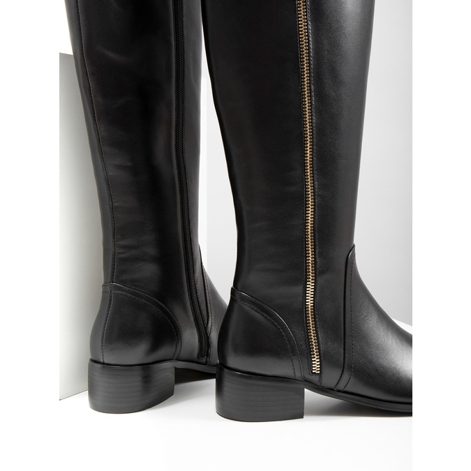 Ladies' leather high boots with zip bata, black , 594-6653 - 14