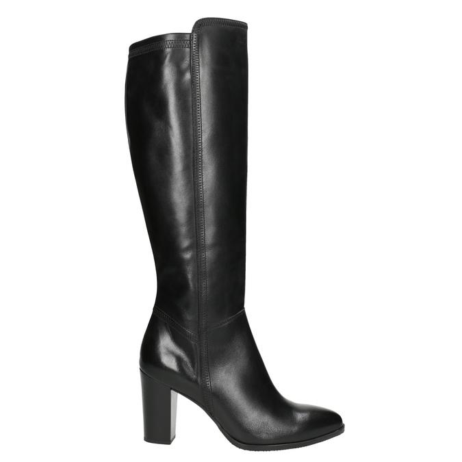 Leather heeled high boots bata, black , 794-6356 - 15