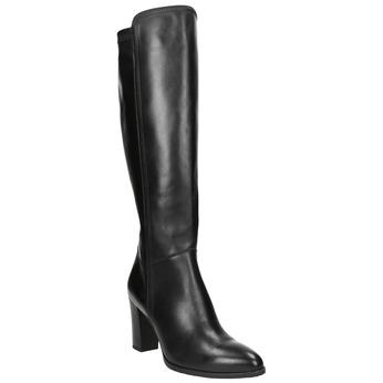 Leather heeled high boots bata, black , 794-6356 - 13