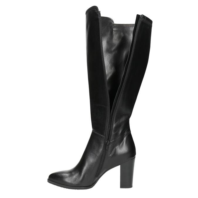 Leather heeled high boots bata, black , 794-6356 - 26