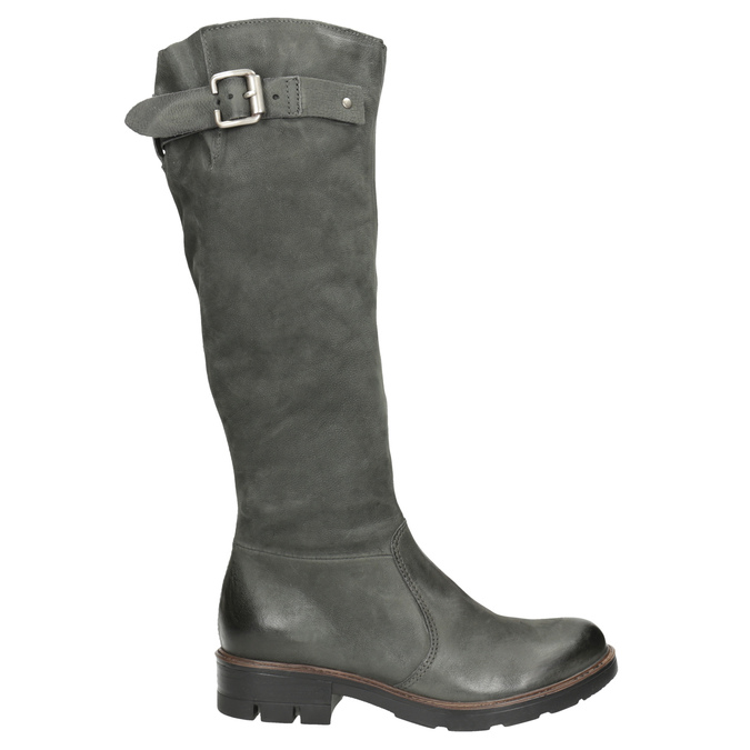 Leather High Boots with a Sturdy Sole bata, gray , 596-9662 - 26