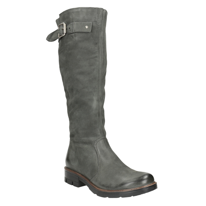 Leather High Boots with a Sturdy Sole bata, gray , 596-9662 - 13