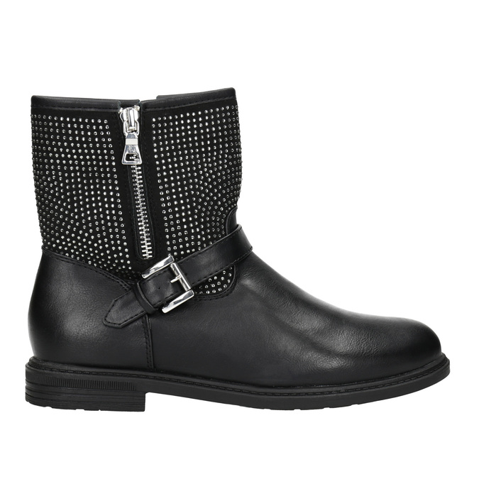 Girls' high boots with rhinestones mini-b, black , 391-6396 - 26