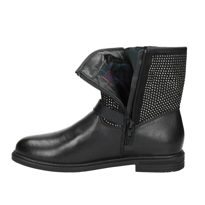 Girls' high boots with rhinestones mini-b, black , 391-6396 - 15