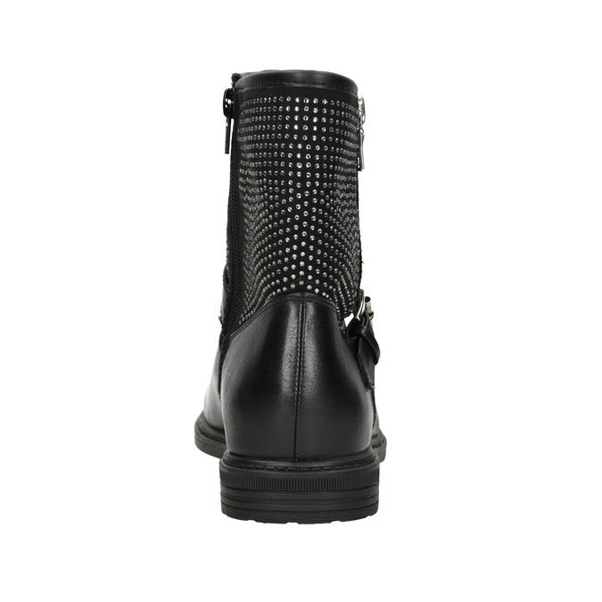 Girls' high boots with rhinestones mini-b, black , 391-6396 - 16