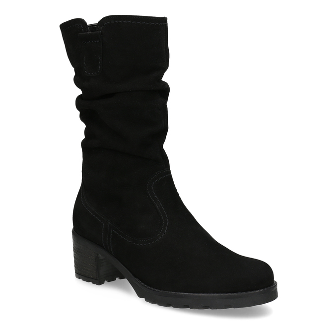 Leather High Boots with Stitching gabor, black , 796-6151 - 13