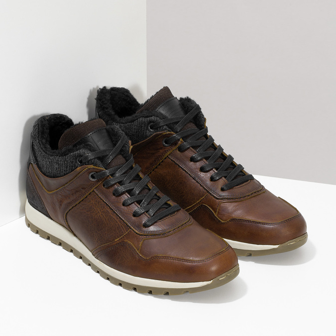 Leather Winter Sneakers bata, brown , 846-4646 - 26