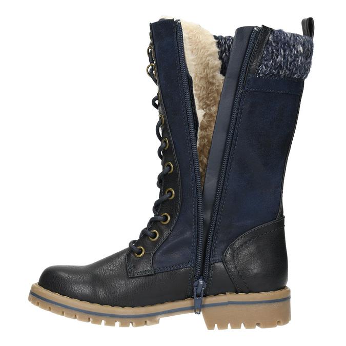 Girls' Winter Boots with Knit Jumper mini-b, blue , 391-9657 - 26