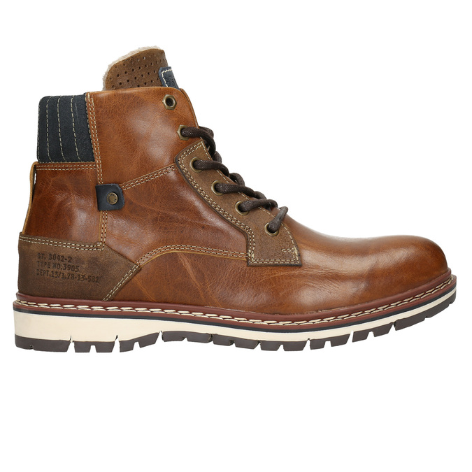 Men's Leather Winter Boots bata, brown , 896-3666 - 15
