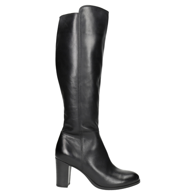 Leather High-Heeled High Boots bata, black , 794-6648 - 15