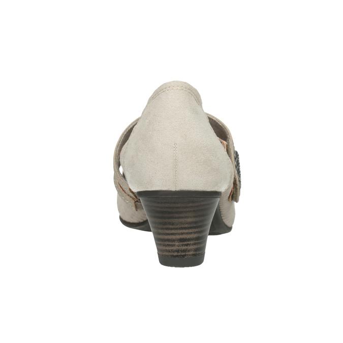 Leather pumps width H bata, beige , 623-2600 - 16