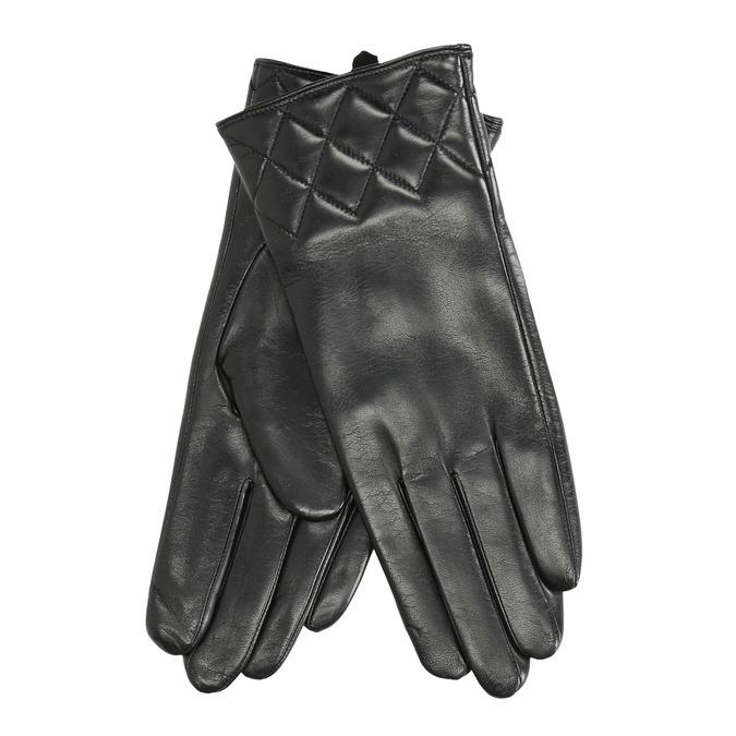 Ladies' black leather gloves bata, black , 904-6131 - 13