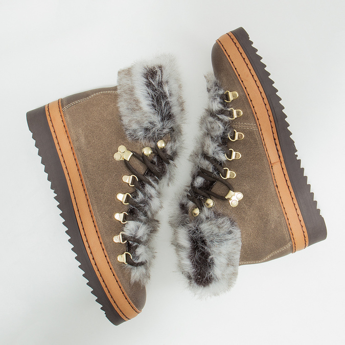 Ladies' winter boots with artificial fur bata, brown , 596-3675 - 18