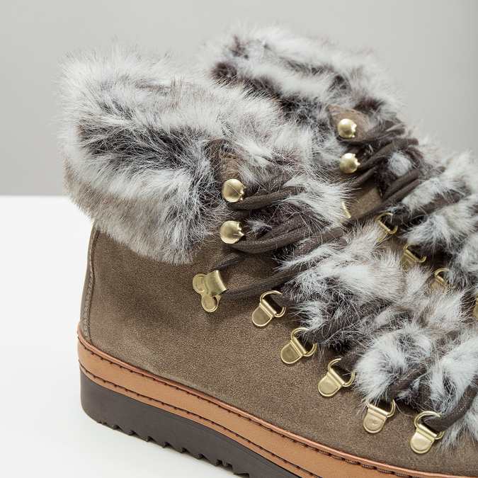 Ladies' winter boots with artificial fur bata, brown , 596-3675 - 14