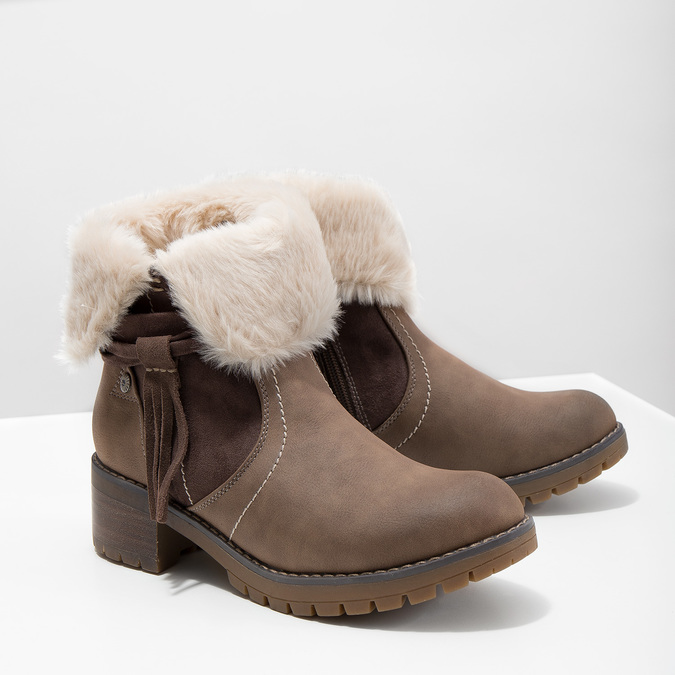 Ankle Boots with Fleece bata, brown , 691-2633 - 18