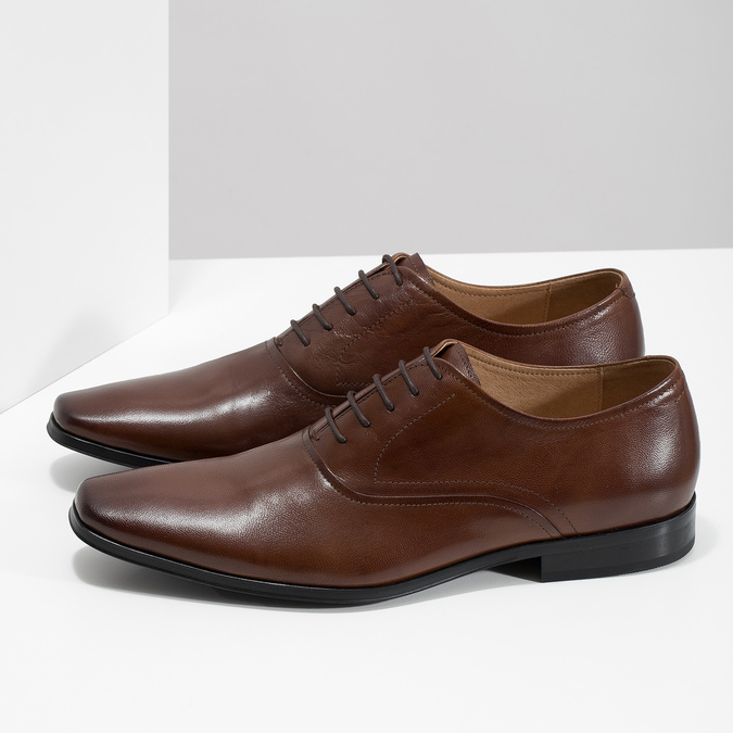 Brown leather Oxford shoes bata, brown , 826-3808 - 16