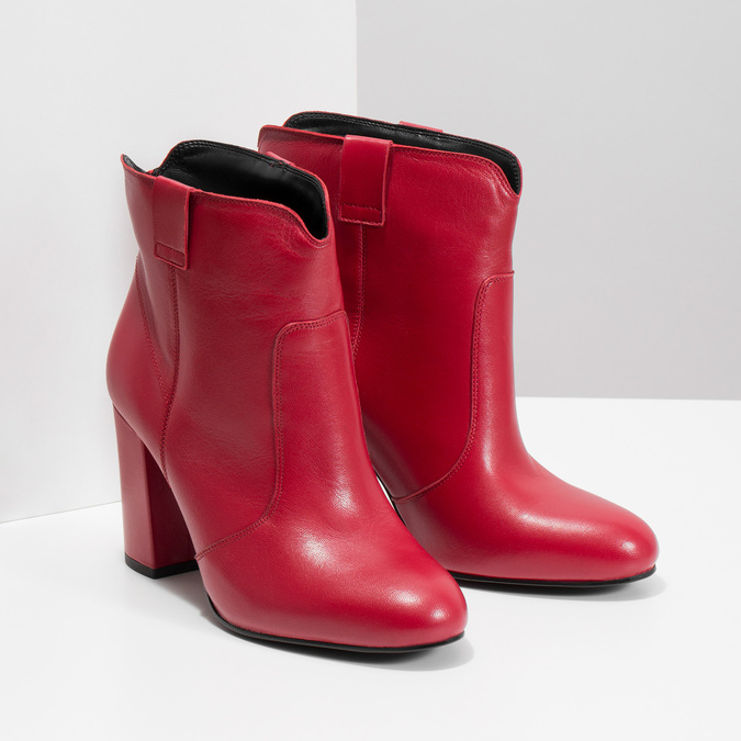 Red leather high ankle boots bata, red , 794-5652 - 26