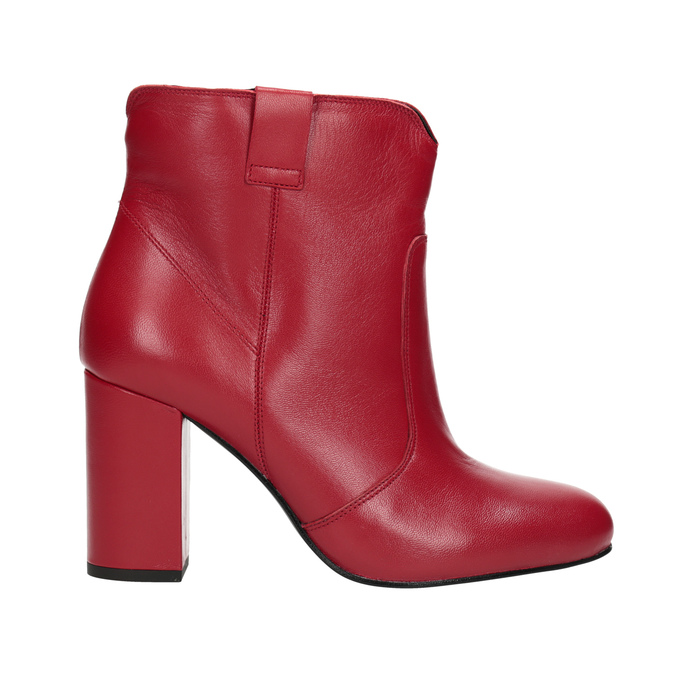 Red leather high ankle boots bata, red , 794-5652 - 16